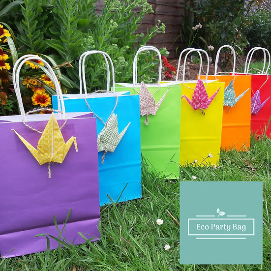 Colourful Party Bag With Hanging Origami Crane