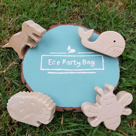Wooden Animals - Dinosaur, Whale, Hedgehog, Beetle And Bumblebee