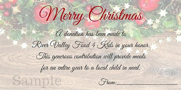 Christmas Card- $100 Gift
