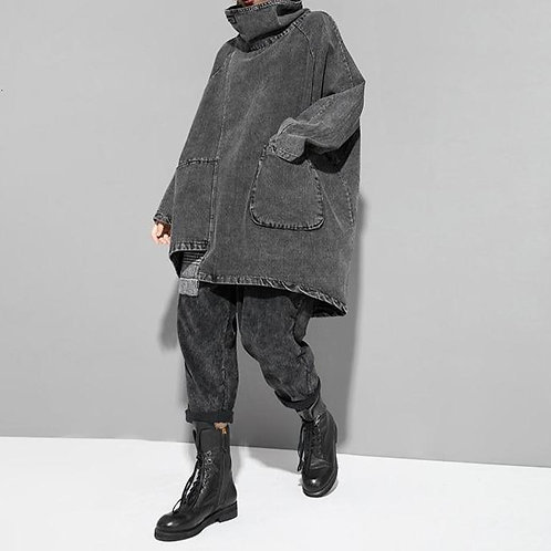 Reon Turtleneck Loose Denim Sweatshirt