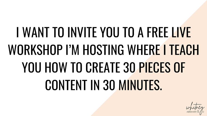 I want to invite you to a FREE LIVE WORKSHOP I'm hosting where I teach you how to create 3