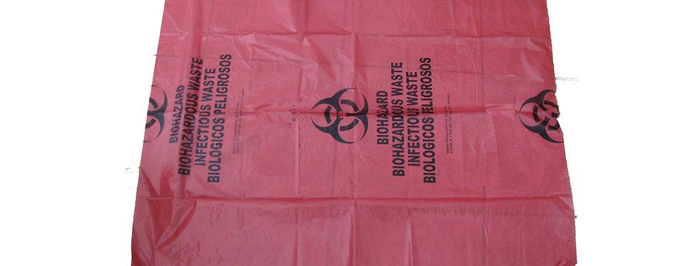 """Biohazard Waste Bag, 20-30gallon, 24"""" Red Trash Liner, 250pcs/case"""