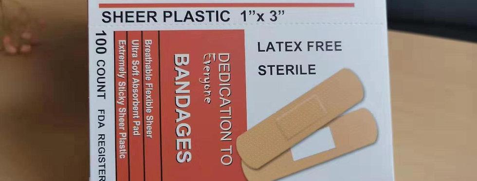 "Derband, 1"" x 3"" Sheer Plastic, Strong Adhesive, 100pcs/Bx"