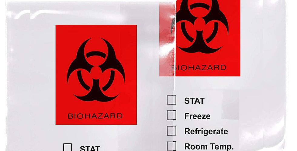 "12"" x 16"" 3 Mil, Polyethylene Ziplock, Biohazard Specimen Bags, 1000pcs/case"