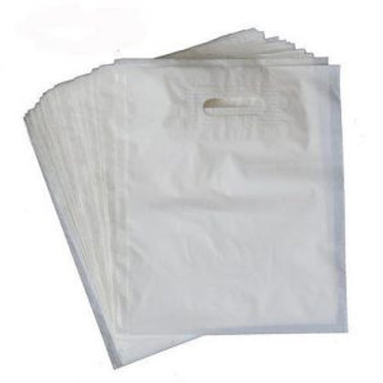 "12"" x 15""Whte LDPE Plastic Shopping Bag"