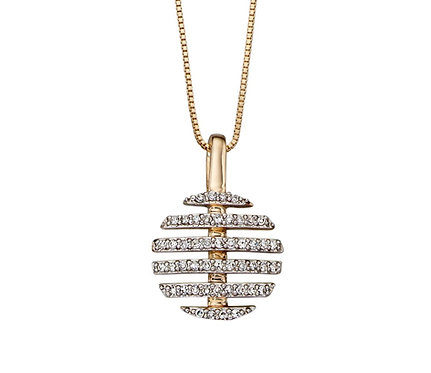 Split Circle Diamond Pendant by Elements Gold