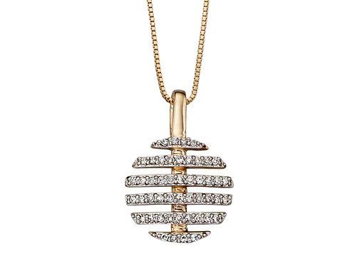 9ct Yellow Gold Split Circle Diamond Pendant Elements GP2093