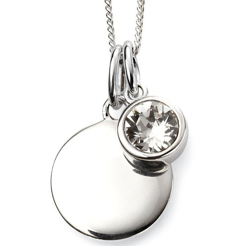 April Birthstone And Engravable Disc Necklace P4593