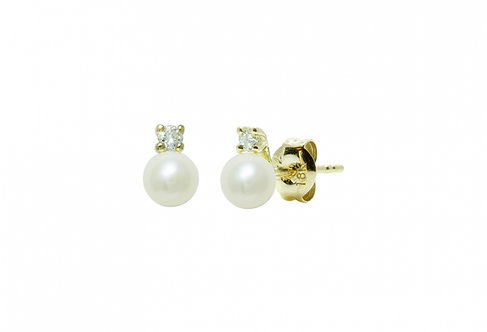 Diamond Set Cultured River Pearl Earring Studs
