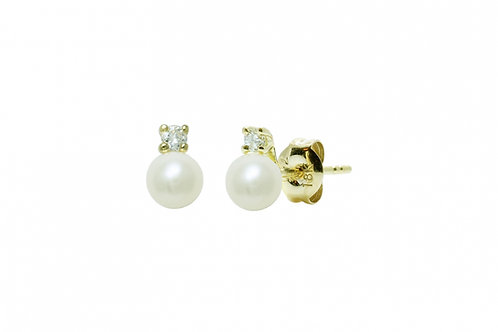 Diamond Set Cultured River Pearl Earring Studs