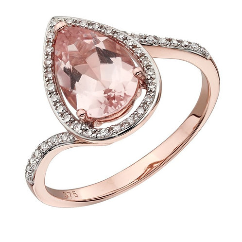 Morganite Tear Drop Shape Ring