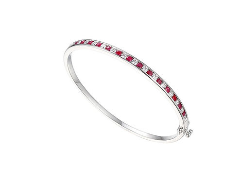 Claret Sterling Silver and Ruby Bangle 9218SILCZR