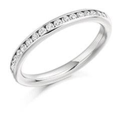 channel set round brilliant cut diamond half eternity ring