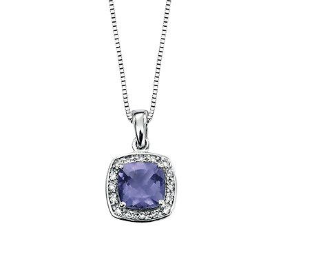 Iolite and Diamond Pendant