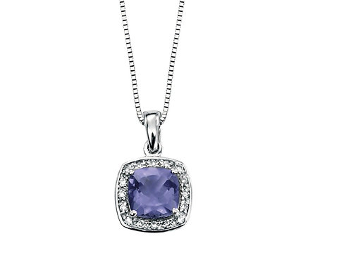 (ct white Gold Iolite Diamond Pendant GP708M
