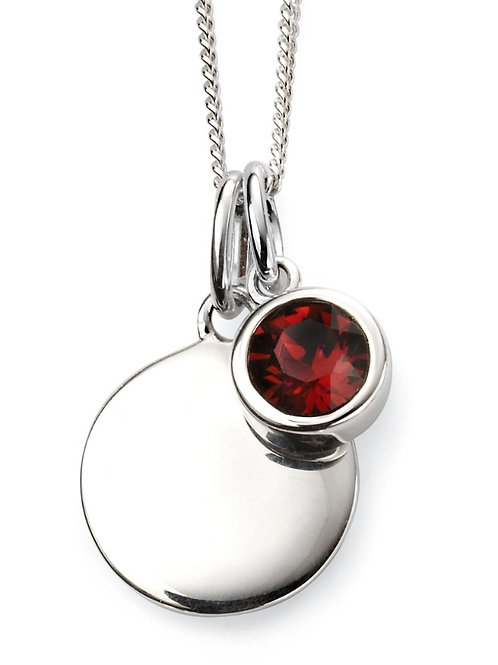 January Birthstone And Engravable Disc Necklace P4590
