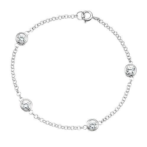 Rubover Clear CZ  Sterling Silver Bracelet B724C