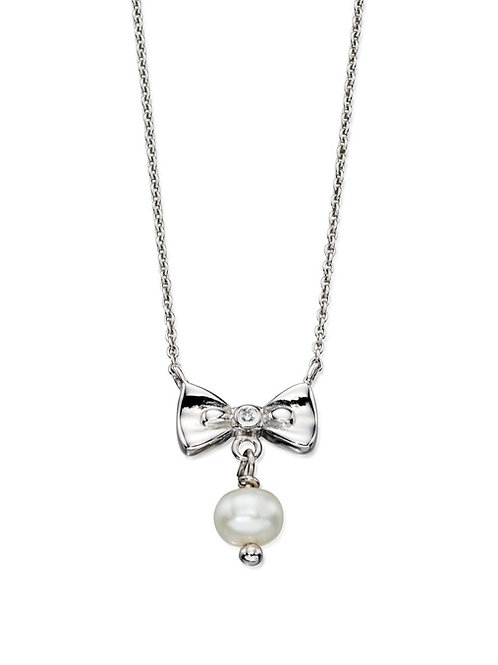 Silver Diamond and Pearl Drop Necklace N4077