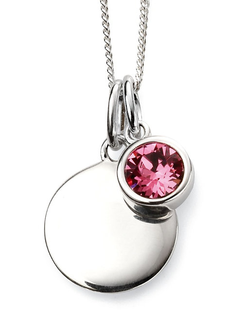 October Birthstone And Engravable Disc Necklace P4599