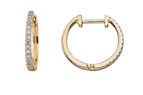 9ct Yellow Gold Diamond Hoops GE2135