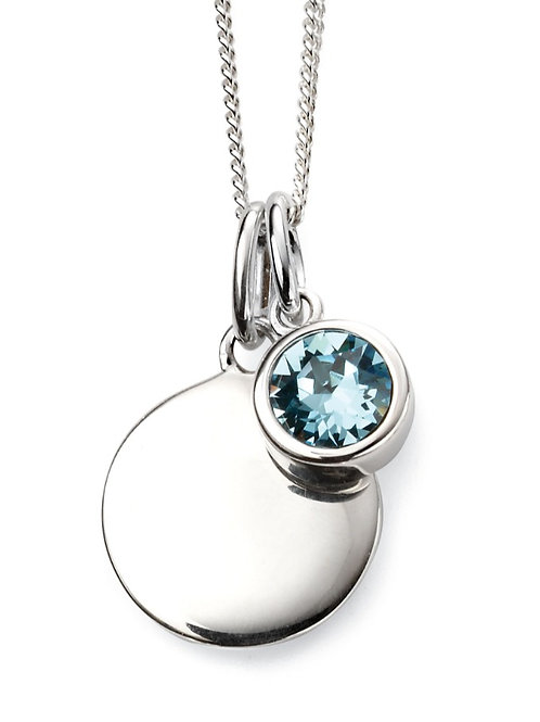 March Birthstone And Engravable Disc Necklace