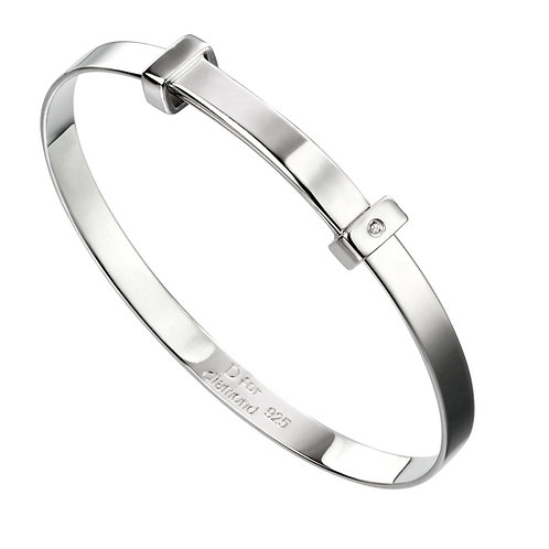 Diamond expandable baby bangle silver B5060