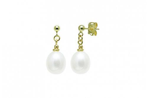 Cultured River Pearl Teardrop Earrings White
