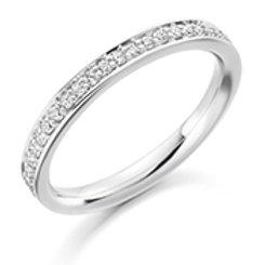 grain set round brilliant cut diamond half eternity ring