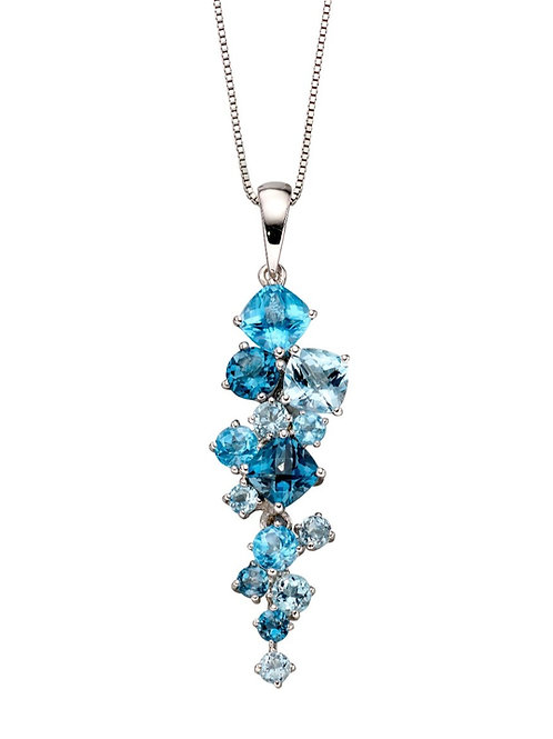 Blue Topaz and White Gold Pendant by Elements Gold.