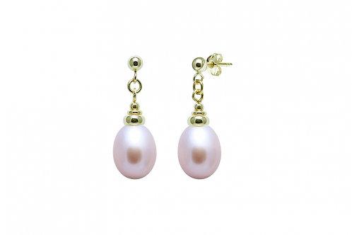 Cultured River Pearl Teardrop Earrings Pink