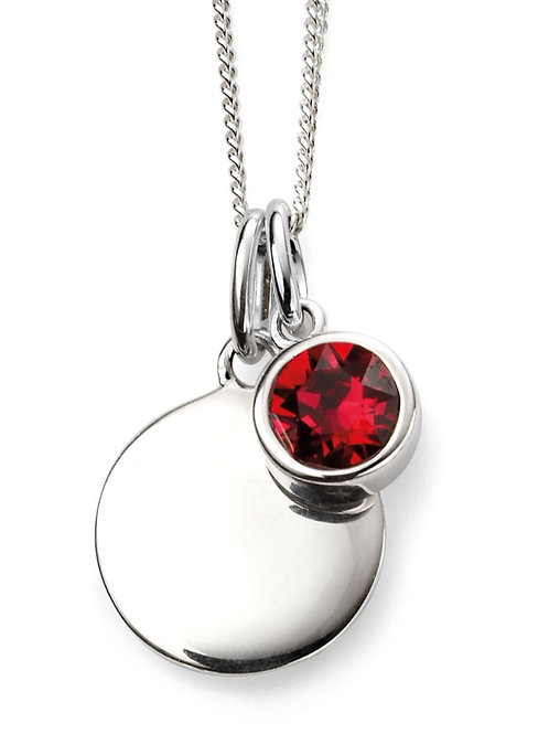 July Birthstone And Engravable Disc Necklace P4596