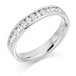 Baguette and round brilliant cut diamond half eternity ring