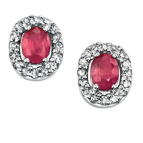 9ct White Gold Ruby Diamond Studs GE703R