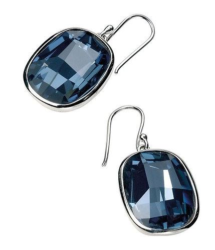 Graphic Facet Denim Blue Crystal Earrings