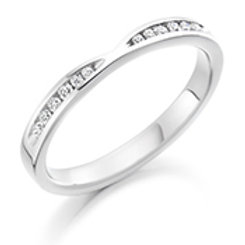 white gold curved and shaped eternity ring