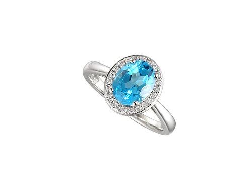 Regal Blue Sterling Silver Ring 9121RSILCZ/BT