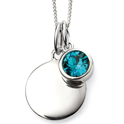 December Birthstone And Engravable Disc Necklace  P4601