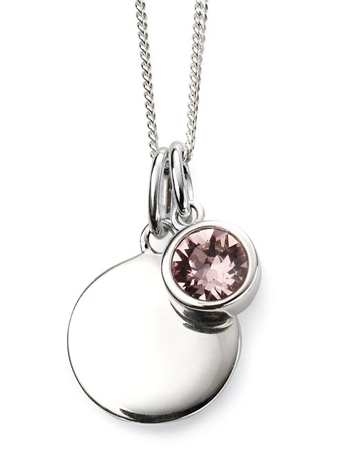 June Birthstone And Engravable Disc Necklace P4595