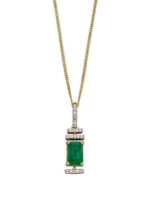 Emerald and Diamond Deco Pendant