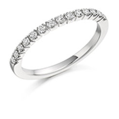 bar set round brilliant cut half eternity ring