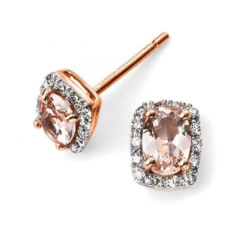 9ct Rose Gold Morganite Diamond Earrings GE2026P
