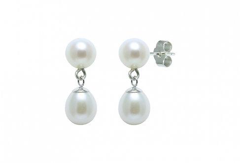 Round & Teardrop Cultured River Pearl Earring Drops
