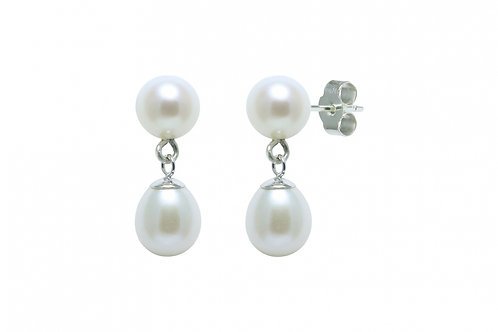 Round & Teardrop Cultured River Pearl Earring Drops