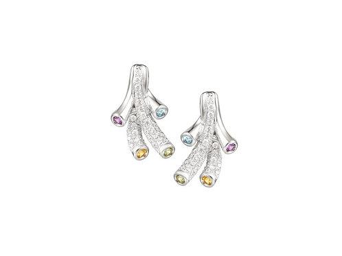 Tutti Frutti Earrings Silver Multi Stone 9132SILCZBTAPC