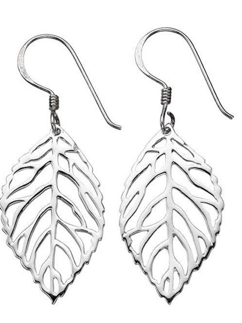 Cut Out Leaf Silver Drop Earrings E4194