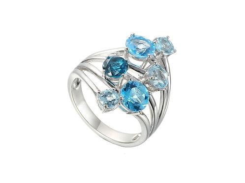 Interlace Blue Topaz Silver Ring 9260SILCZ3BT