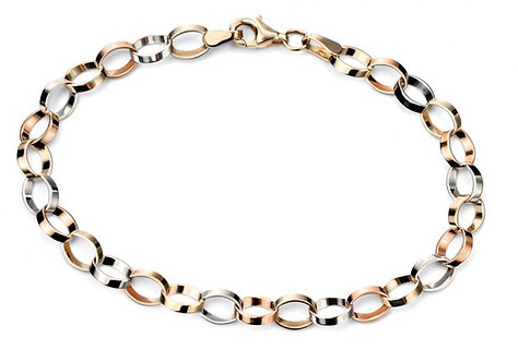 Yellow, White and Rose Gold Bracelet