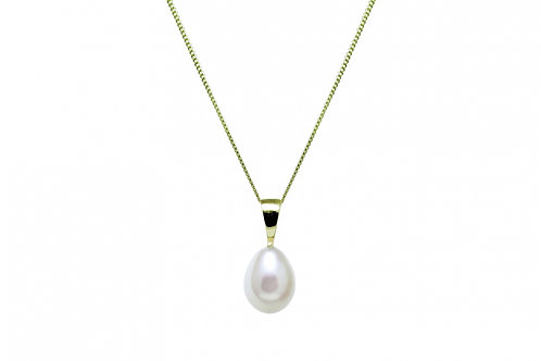 Teardrop Cultured River Pearl Gold Pendant