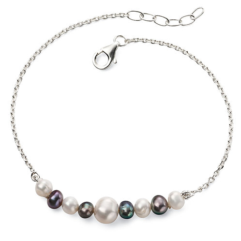 Peacock and White Pearl Bracelet