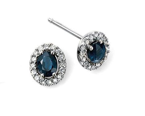 9ct White Gold Diamond and Sapphire Studs